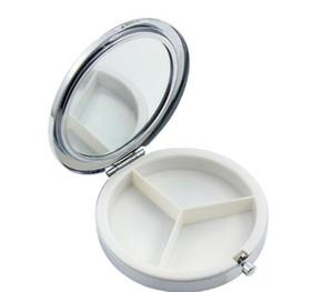 7cm 금속 원형 거울 필 박스 홀더 3 구획 의학 케이스 컨테이너 작은 난로 메이크업 컴팩트 거울 저장 주최자 RRA2870