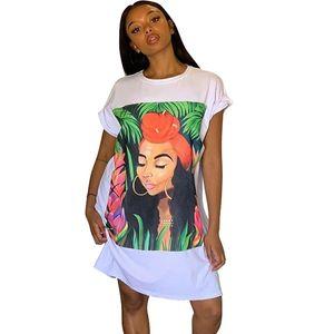 Oversized T Shirt Dress Women Short Sleeve Character Print Tunic Mini Streetwear Dress Autumn Ladies Loose Short Casual Dress