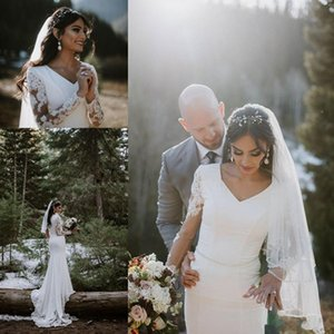 2021 Modest Country Wedding Dresses Mermaid V Neck Lace Applique Bridal Gowns With Crystal Sash Long Sleeve Sweep Train Wedding Gowns
