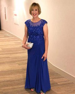Royal Blue Chiffon Mother of the Bride Dresses with Beaded Lace Applique Capped Sleeves Wedding Guest Dress Party Gowns