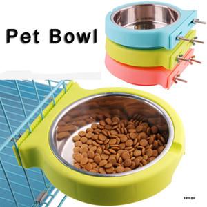S / L Colgando platos Comedero de acero inoxidable duradero Vajilla de plástico gato perro Pot Pet Bowl del alimentador del agua cuencos 3 colores DBC BH3135