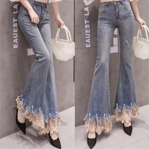 Calças Moda Lace Lace emenda Micro Flared Calças Jeans Mulheres alta cintura elástica Força Burr Pérola Cowboy Casual Denim Calças