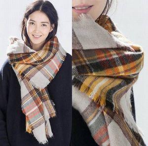2015 donne sciarpa donne sciarpa calda di modo di inverno di marca famosa Plaid Thick scialli e Blanket Sciarpa per le donne