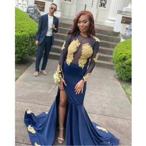 Royal Blue Mermaid Long Black Girl Evening Dresses 2020 Illusion Backless Graduation Dress Plus Size Special Occasion Gowns