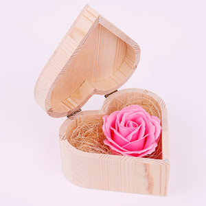 Valentine Soap Flower with Heart Shape Wooden Box Bouquet Hand Made Rose Flower Soaps For Valentine Day Wedding Lover Gifts GGA3061