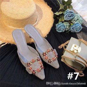 ultimo fiore e diamanti fibbia tacco alto a punta sandali in seta con motivo testa a spillo pantofole altezza del tacco 5,5 centimetri Corrispondenza Imballaggio