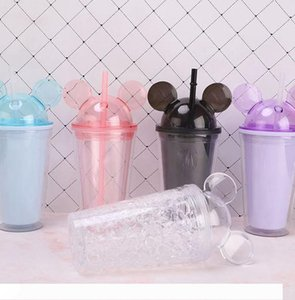 Mouse ear plastic bottle children Travel Cup with straws Juice Wine Glass Kids Baby Cartoon Cute Plastic double layer bottle KKA7916