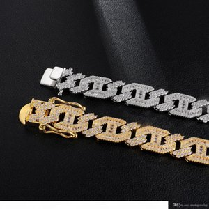 Iced Out Chains 18MM Cuban Link Hip Hop Bling Chain Jewelry Men Gold Luxury Designer Diamond Tennis Necklace Mens Hiphop Rapper Fashion New
