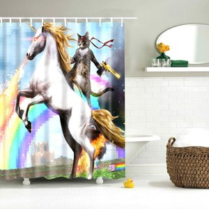 Douche drôle rideau Rafraîchissez Animaux drôle de chat chaton Prendre une arme à feu avec une salle de bains équitation Horse Poliban avec 12 crochets Y200108