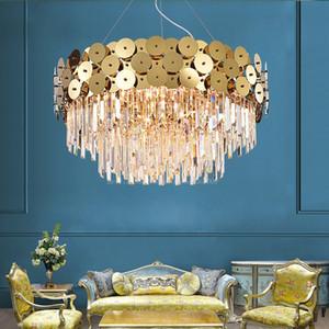 Lusso rotondi Illuminazione Luci Pendenti Modern Chandelier per soggiorno Oro sospensione a cavo LED Cristal Lustre Cristalli Sala da pranzo Lampade