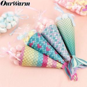 Parti 100 / 120pcs Mermaid Kağıt Şeker Hediye Kutusu Asma Tatlı Çanta Hediyeler kızlar Düğün Doğum Denizkızı Partisi Dekorasyon Şekeri