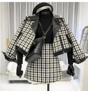 2019 Nouvelle-Dame Automne et Hiver Cuir Splice court manteau de laine + taille haute Mini-jupe en deux parties de Costumes Jupe Mode Femme