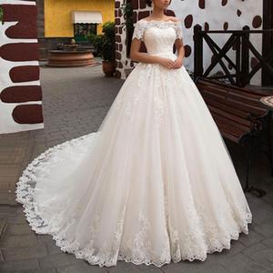 Modestas Mangas Curtas Appliques Vestidos De Noiva de Laço 2020 Vestidos Noiva Longa Capela Train Mulheres Formal Wedding Wear personalizado on-line