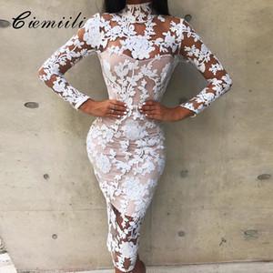 CIEMIILI 2018 reizvollen Verein Spitze-Frauen-Kleid-lange Hülse Art und Weise Abend-Partei-Verband kleidet weiße elegante weißen Herbst Kleidung