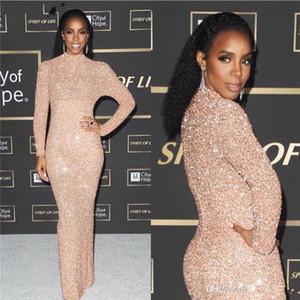Gold Mermaid Elegant Evening Abendkleider 2020 Voll Pailletten Abendkleid High Split Langarm Abendkleider robe de soiree Abendkleider