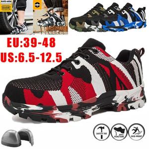 Chaussures de sécurité d'homme Chaussures de travail Toe en acier maille respirante Chaussures de sécurité industrielle Anti-fracassant Puncture Sandales Proof