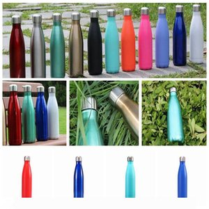 500ml Stainless Steel Water Bottle Double Walled Cola Shape Sport Vacuum Insulated Travel Bottles 12 STYLES KKA7845