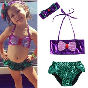 2019 New Bikini Little Girls Mermaid BikniiSet Swimsuit Bathing Suit Beach Swimming Costume Hirigin Two-piece Girls Swimmable