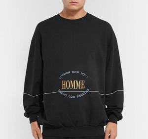 19FW HOMME Letras de bordado camisetas de la manera Hombres Mujeres Pareja Hip Hop Sweatshits de calidad superior sudaderas BB
