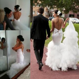 2018 Spring Mermaid Abiti da sposa Sexy Gonna a file Sweep Train Beach Abiti da sposa Custom Made Backless Wedding Dress Back With Big Bow