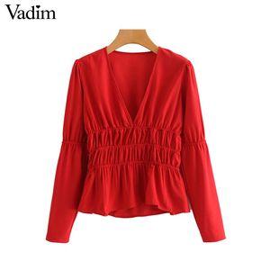 Vadim mujer elegante cuello en V profundo blusa roja manga larga cintura elástica camisas plisadas mujer casual elegante tops blusas LA759