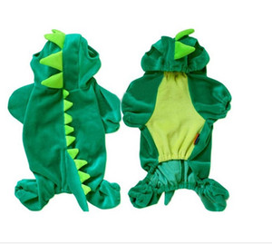 Atacado-Dinosaur Brasão Dog Costume Pet Halloween XS S M L XL Pet Dogs Verde Outfits gratuito DropShipping