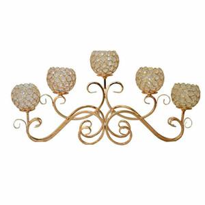 5 portacandele in metallo testa oro / argento placcato candeliere tavolo in cristallo candelabri casa decorazione centrotavola hotel decorazione