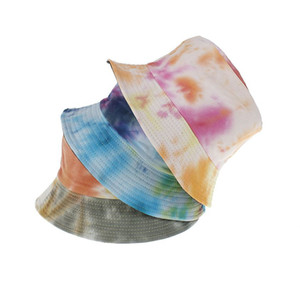 Summer Tie-dyeing Bucket Hat Fisherman cap women Men Gift wide brim Beach Cap Floral Universal Outdoor Travel Sun beach hat LJJA3830