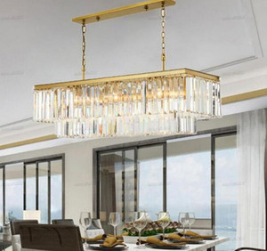 Square Gold Crystal chandeliers American Crystal chandeliers For Restaurant Dining Room Bedroom Study Room Living Room LED Bulbs LLFA