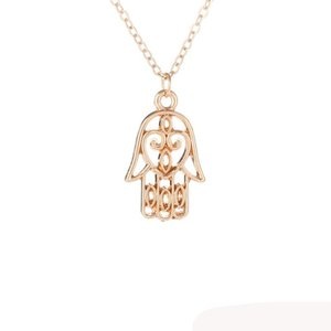 Hamsa Fatima Necklace For Women Charm Jewelry Gold Silver Color Wish Card Protection Bergamot Pendant Necklace Choker Gifts