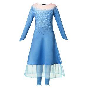 Kızlar 2019 film kar kraliçesi yeni Prenses Kostüm çocuk mavi elbise ve pantolon 2adet Cadılar Bayramı fantezi Cosplay costumeLD19110104 dondurulmuş set