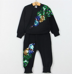 hot 2019 New girls boys long-sleeved T-shirt pants kids sports two-piece suit peacock sequins Free shipping