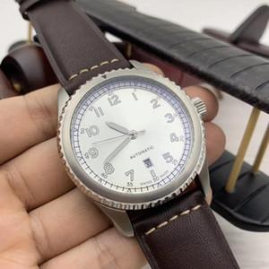 Lunette tournante Effacer arabe Nombre Marqueurs Montres Hommes automatique lumineux cadran argenté 46mm Case date Montres-bracelets en cuir Band