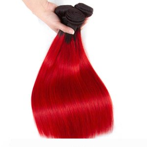 Brazilian Ombre Human Hair 3 4 Bundles Cheap Straight 1B Red Human Hair Weave Two Tone Colored Red Human Hair Wefts Extensions