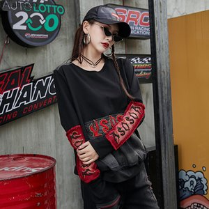 women's clothing denim knitted patchwork long sleeve big pocket O neck Vintage Pullovers streetwear hoodies for women A110Z4