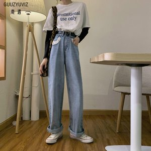 GUUZYUVIZ Vintage Jeans Mujer High Waist Loose Denim Jeans Women Blue Wide Leg Pants