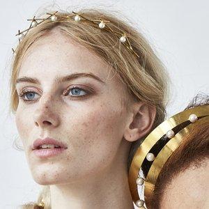 50pcs / lot DIY Multi einfacher goldene Legierung Geometrie aushöhlen Kopf versieht Perlen Drill Stirnbänder Haar Styling Werkzeuge Zubehör HA1093