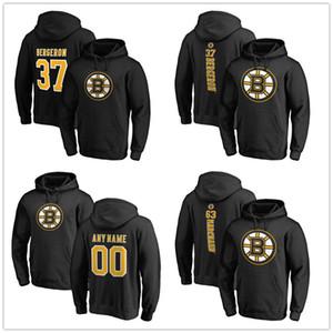 보스턴 남성 까마귀 힙합 브루 인스 (37) 파트리스 Bergeron의 개인 팀 정통 스웨터 후드 스웨터 블랙 Prineted 로고