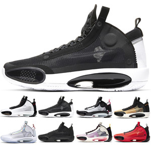 Jumpman 34 XXXIV Men Basketball Shoes Mens Trainers High Qaulitys Black Cat Bred CNY Infrared Eclipse Mens Sports Shoes Sneakers Size 40-46
