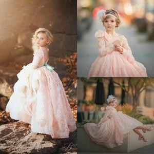 Blush Pink Flower Girl Dresses Manga larga 3D Floral Roses Flores Princesa Pageant Vestidos para el vestido de boda Niños vestido de los adolescentes