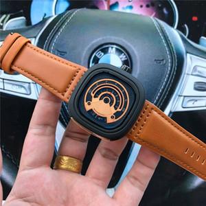 Cuero Deportes movimiento Cinturón de cuarzo luxuy los hombres de tendencia reloj del cuadrado de los hombres de las PC Siete Viernes Hombre de acero inoxidable reloj para mujer del regalo de Navidad