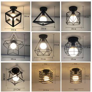 Fabrik Großhandel Nordic Retro LED-Deckenleuchte 85-240V E27 Lampen-Halter Schwarz Schmiedeeisen Deckenleuchte für Küche Wohnzimmer