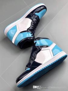 2019 Le plus récent 1 élevé OG UNC brevet WMNS ASG Obsidian Blue Chill Blanc Hommes Femmes Chaussures de basket-ball 1s All-Star drop sneakers jeu expédition