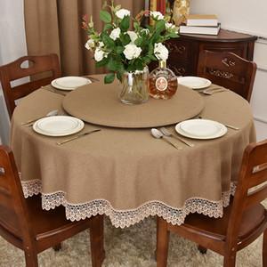 Esstisch Große Tischdecke Reines Stoff Brown Retro American-Style Dorfart Round Table 2 M 2 Tischdecke Unigewebe