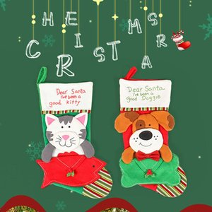 Durable Decor para o Ano Novo Padrão Dog Cat Christmas Gift Meias Sock Pendant Saco dos doces do Xmas Tree Decor