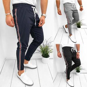 Erkekler Moda Çizgili Düz Uzun Pantolon İpli Pantolon