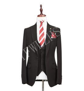 Classic One Button Handsome Groomsmen Peak Lapel Groom Tuxedos Men Suits Wedding Prom Best Man Blazer ( Jacket+Pants+Vest+Tie) W99
