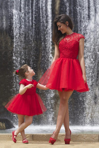 Jewel dentelle à manches courtes Prom Party Robes Red Mother And Daughter Party Robes Mini assortis enfants Flower Girls Dress 2020 Retro