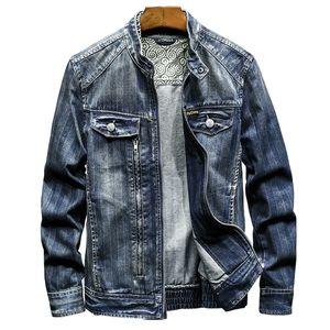 BONJEAN Vintage Biker мотоцикл джинсовой куртки для мужчин марка вскользь весна осень пальто стенд воротник Slim Fit