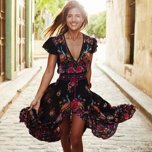 Для женщин Платья Женщины Дизайнер одежды Новые Женщины Лето V шеи Boho Длинные Maxi Цветочные шифон пляж платье Цветочный сарафан Дизайнер одежды